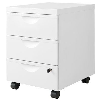 ERIK Drawer unit w 3 drawers on castors, white, 41x57 cm