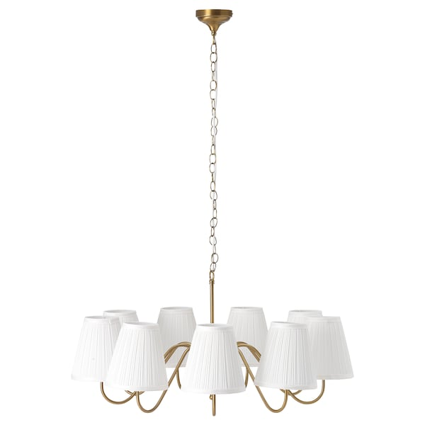 ESARP Chandelier, 9-armed, brass/fabric
