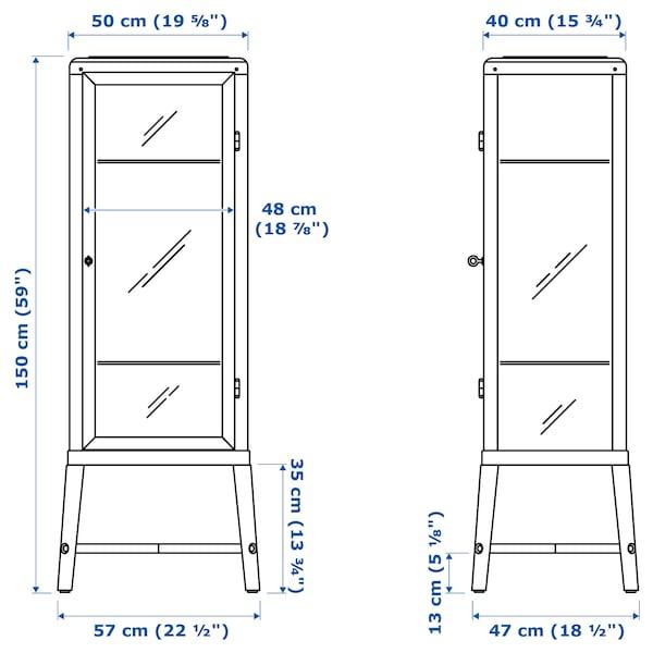 FABRIKÖR خزانة بباب زجاج, رمادي-أخضر باهت, 57x150 سم