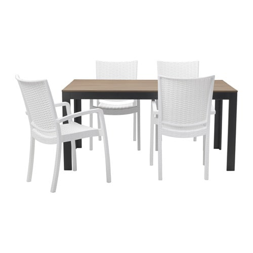 FALSTER INNAMO Table 4 Chairs W Armrests Outdoor Black Brown White IKEA