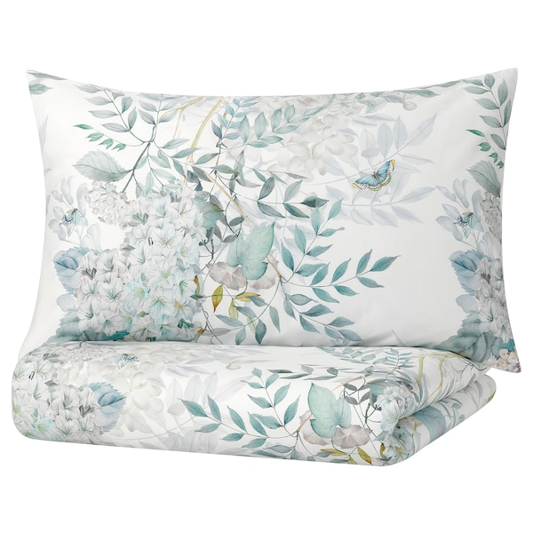 FINLOSTA Duvet cover and 2 pillowcases, floral patterned, 240x220/50x80 cm