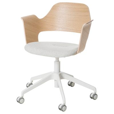FJÄLLBERGET كرسي اجتماعات بعجلات, قشرة سنديان مصبوغ أبيض/Gunnared بيج