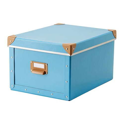 fj lla box with lid blue 27x35x20 cm ikea. Black Bedroom Furniture Sets. Home Design Ideas