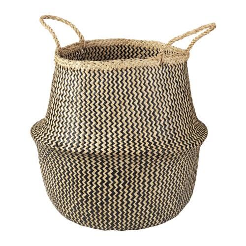 FLÅDIS Basket, seagrass, black