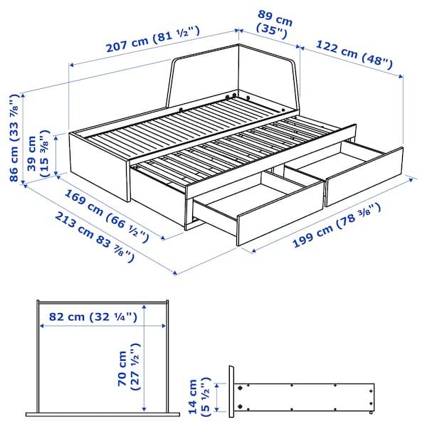 FLEKKE day-bed frame with 2 drawers black-brown 207 cm 88 cm 86 cm 169 cm 207 cm 200 cm 80 cm