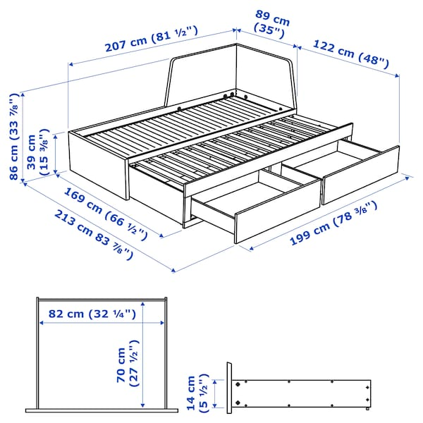 FLEKKE Day-bed w 2 drawers/2 mattresses, black-brown/Malfors firm, 80x200 cm