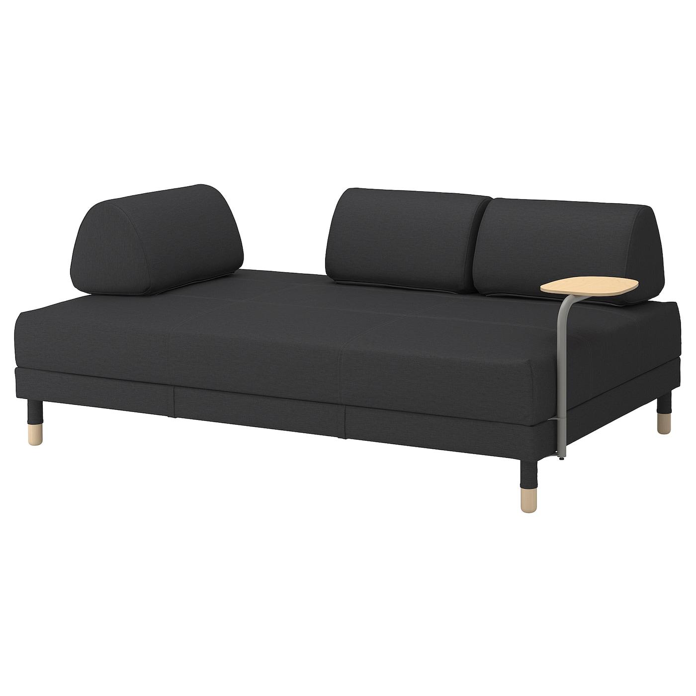 FLOTTEBO Sofa-bed with side table - Vissle dark grey 3 cm