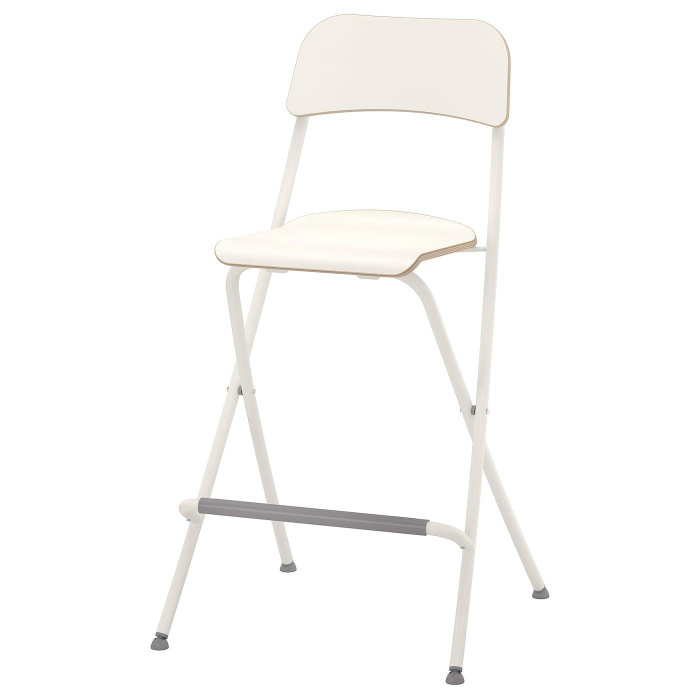 FRANKLIN Bar stool with backrest, foldable - white/white 3 cm