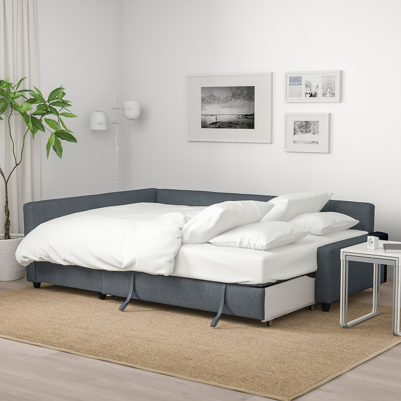 FRIHETEN Corner sofa-bed with storage - Hyllie dark grey