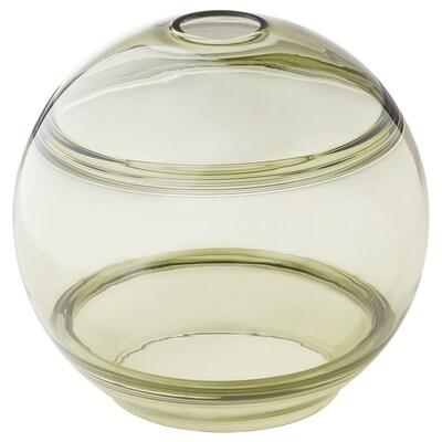 FUNDSHULT غطاء مصباح معلق, أخضر زجاج/مسطّر