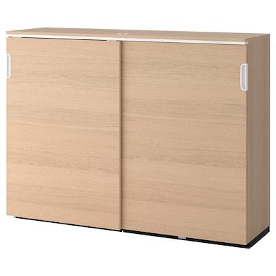 GALANT خزانة بأبواب إنزلاقية, قشرة سنديان مصبوغ أبيض, 160x120 سم
