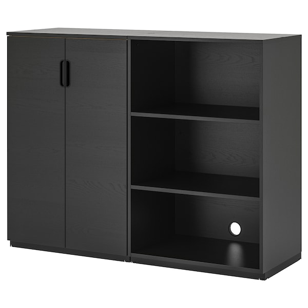 GALANT Storage combination, black stained ash veneer, 160x120 cm