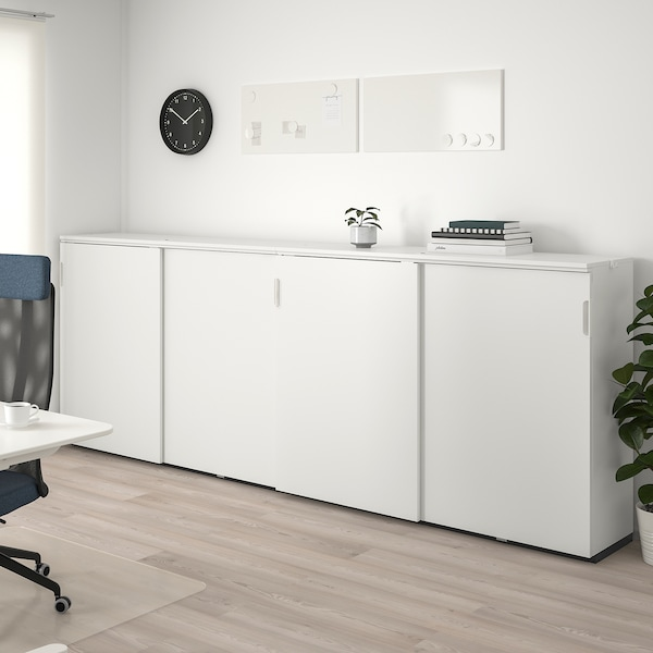 GALANT تشكيلة تخزين مع أبواب إنزلاقية, أبيض, 320x120 سم