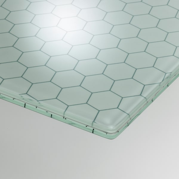 GLASHOLM Table top, glass/honeycomb patterned, 148x73 cm
