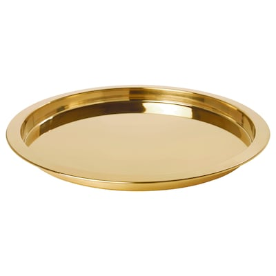 GLATTIS Tray, brass-colour, 38 cm