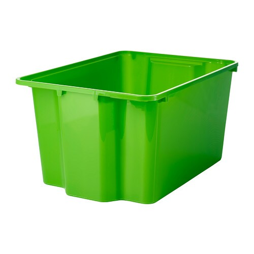 GLES Box IKEA Perfect for sports equipment, gardening tools or laundry and cleaning accessories.  Stacks to save space when not in use.