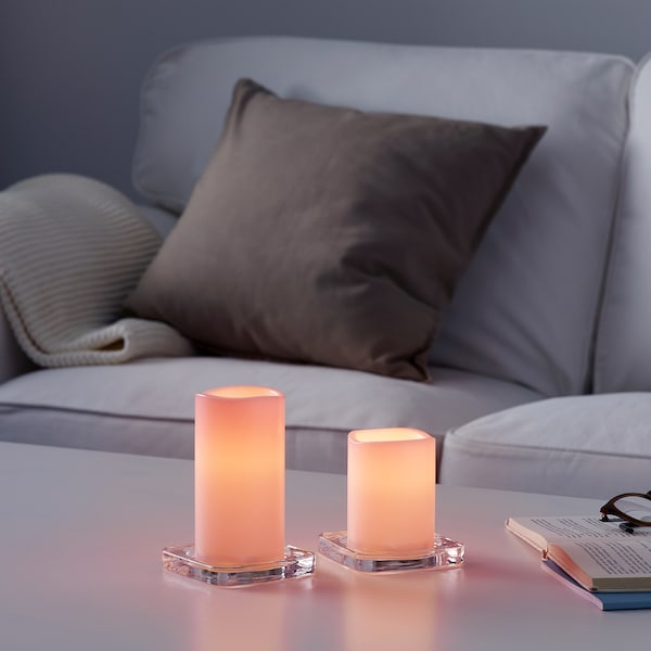 GODAFTON LED block candle in/out, set of 2, battery-operated pink