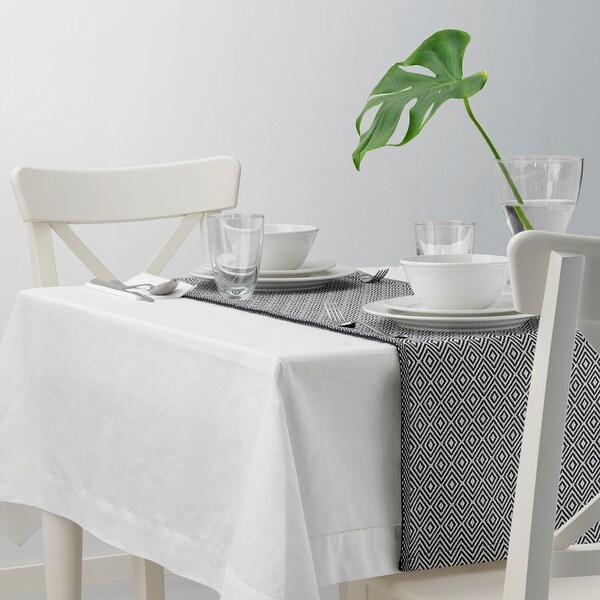 GODDAG Table-runner, black/white, 35x130 cm