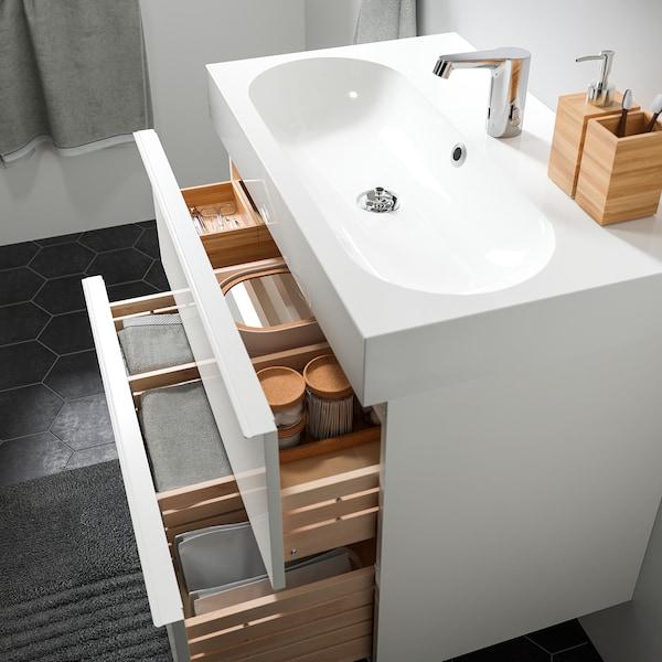 GODMORGON / BRÅVIKEN Wash-stand with 2 drawers, high-gloss white/Brogrund tap, 80x48x68 cm