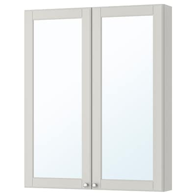 GODMORGON خزانة بمرآة مع بابين, Kasjon رمادي فاتح, 80x14x96 سم