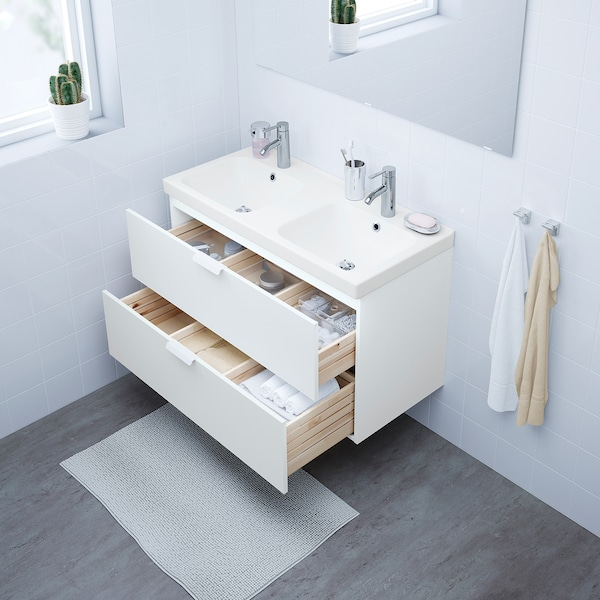 GODMORGON / ODENSVIK Wash-stand with 2 drawers, white/Dalskär tap, 103x49x64 cm