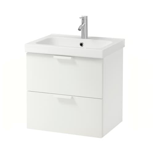 GODMORGON / ODENSVIK wash-stand with 2 drawers white/Dalskär tap 63 cm 60 cm 49 cm 64 cm