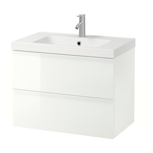GODMORGON / ODENSVIK wash-stand with 2 drawers high-gloss white/Dalskär tap 83 cm 80 cm 49 cm 64 cm