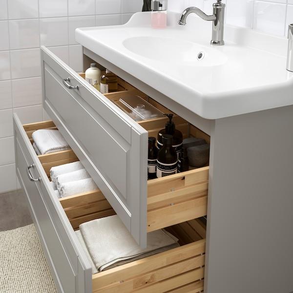 GODMORGON / RÄTTVIKEN Wash-stand with 2 drawers, Kasjön light grey/Hamnskär tap, 102x49x68 cm