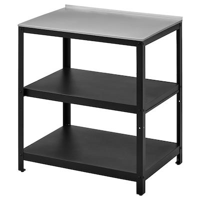 GRILLSKÄR Kitchen island shelf unit, black/stainless steel outdoor, 86x61 cm