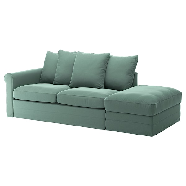 GRÖNLID 3-seat sofa-bed, with open end/Ljungen light green