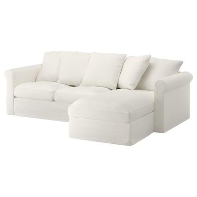 GRÖNLID كنبة 3 مقاعد, مع أريكة طويلة/Inseros أبيض