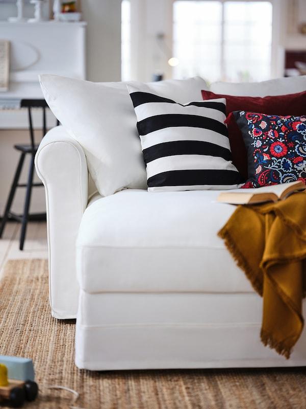 GRÖNLID كنبة بثلاث مقاعد مع أريكة طويلة, Inseros أبيض