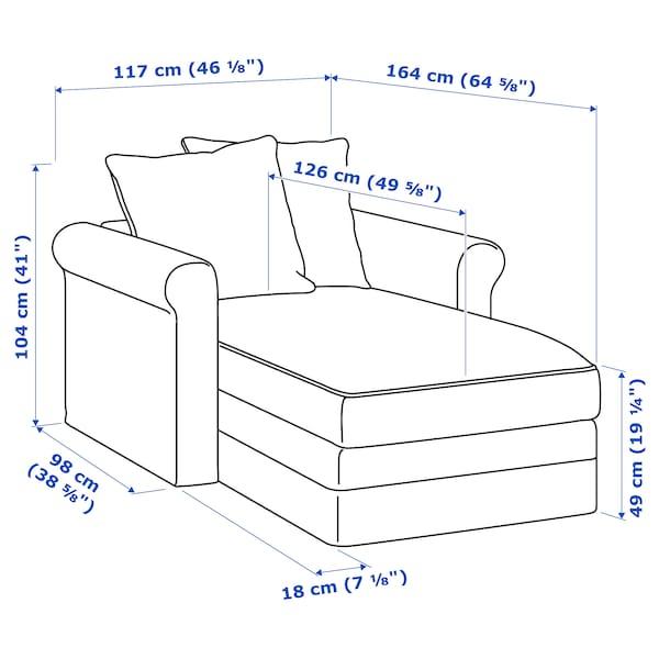 GRÖNLID chaise longue Ljungen dark red 104 cm 117 cm 164 cm 7 cm 18 cm 68 cm 81 cm 126 cm 49 cm