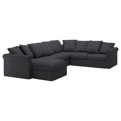 GRÖNLID corner sofa, 5-seat with chaise longue/Sporda dark grey 104 cm 164 cm 98 cm 126 cm 252 cm 333 cm 7 cm 18 cm 68 cm 60 cm 49 cm