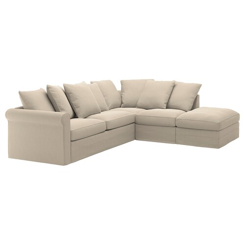 GRÖNLID corner sofa-bed, 4-seat with open end/Sporda natural 104 cm 68 cm 98 cm 235 cm 271 cm 60 cm 49 cm 140 cm 200 cm 12 cm