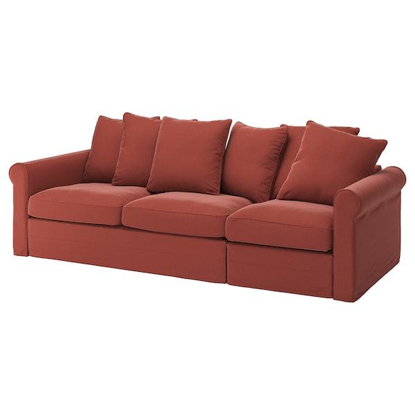 GRÖNLID غطاء كنبة - سرير 3 مقاعد, Ljungen أحمر فاتح