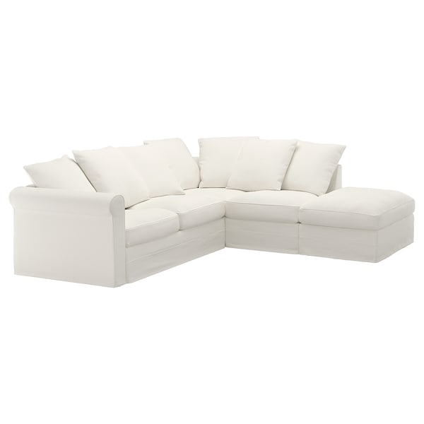 GRÖNLID غطاء كنبة زاوية، 4 مقاعد, مع طرف مفتوح/Inseros أبيض