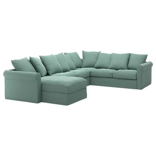 GRÖNLID corner sofa, 5-seat with chaise longue/Ljungen light green 104 cm 164 cm 98 cm 126 cm 252 cm 333 cm 7 cm 18 cm 68 cm 60 cm 49 cm
