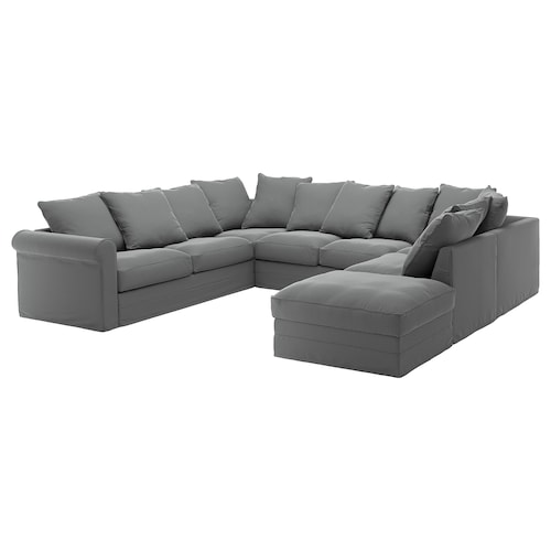 GRÖNLID u-shaped sofa, 6 seat with open end/Ljungen medium grey 104 cm 327 cm 252 cm 7 cm 18 cm 68 cm 60 cm 49 cm
