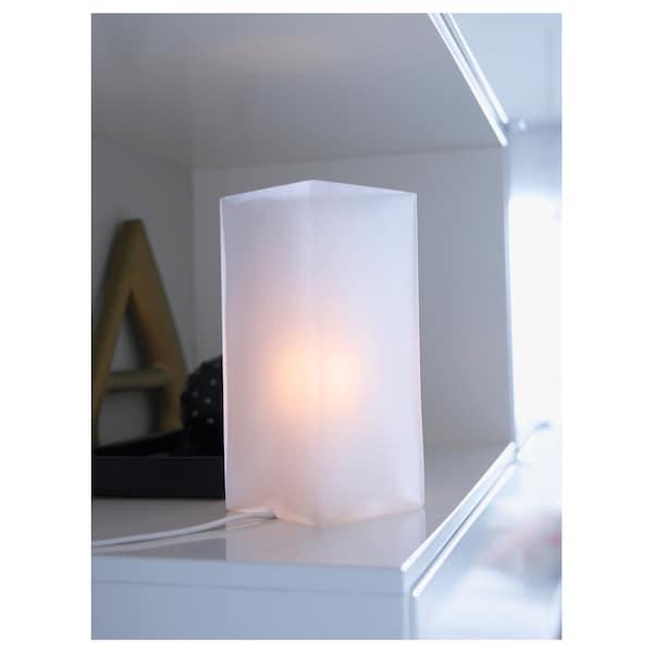 GRÖNÖ مصباح طاولة, زجاج محبب أبيض