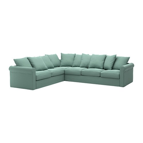 GRÖNLID Corner sofa, 5-seat - Ljungen light green - IKEA