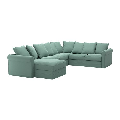 Green Family Stores >> GRÖNLID Corner sofa, 5-seat - with chaise longue/Ljungen light green - IKEA