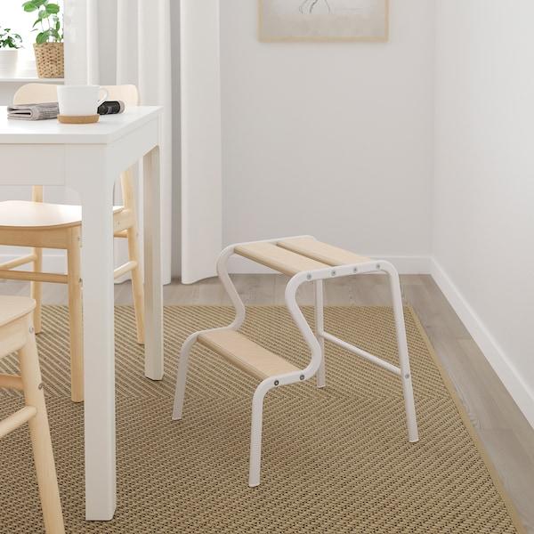 GRUBBAN Step stool, white/birch