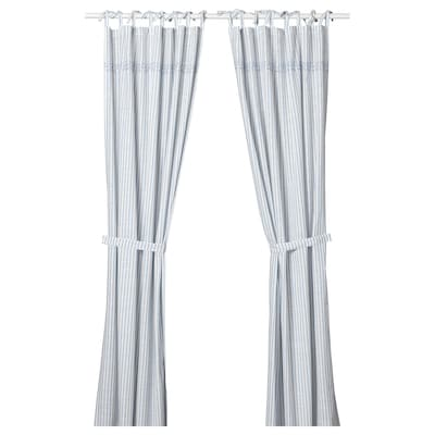 GULSPARV Curtains with tie-backs, 1 pair, striped blue/white, 120x300 cm