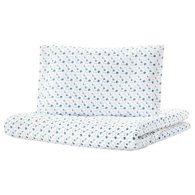 GULSPARV غطاء لحاف وغطاء مخدة واحد للأطفال, نقش التوت الأزرق, 110x125/35x55 سم