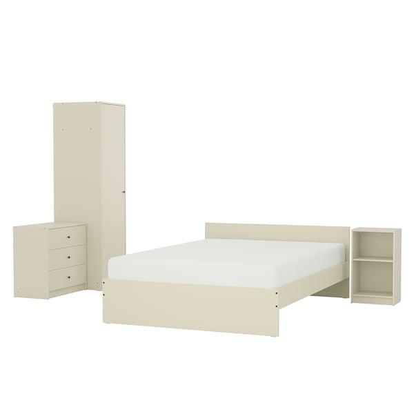 GURSKEN أثاث غرفة نوم، طقم من 4, بيج فاتح