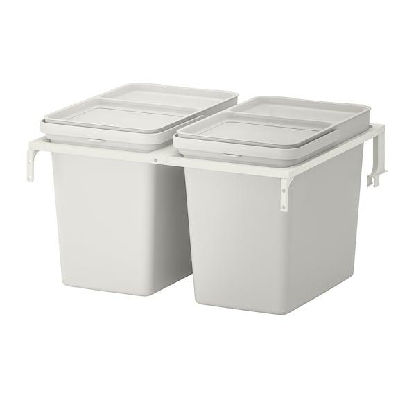 HÅLLBAR حل فرز النفايات, لدرج مطبخ METOD/رمادي فاتح, 44 ل