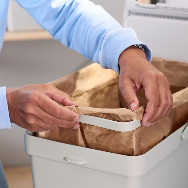 HÅLLBAR حل فرز النفايات, لدرج مطبخ METOD/رمادي فاتح, 55 ل