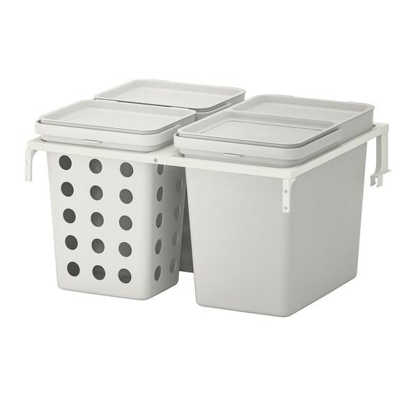 HÅLLBAR حل فرز النفايات, لدرج مطبخ METOD مع تهوية/رمادي فاتح, 42 ل