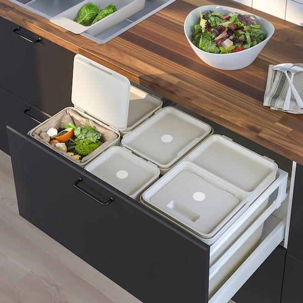 HÅLLBAR حل فرز النفايات, لدرج مطبخ METOD مع تهوية/رمادي فاتح, 55 ل